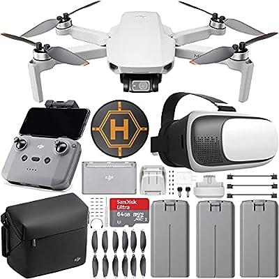 DJI CP.MA.00000306.01 Mini 2 Drone 4K Video Quadcopter Fly More Combo (Renewed) + FPV Headset Bundle