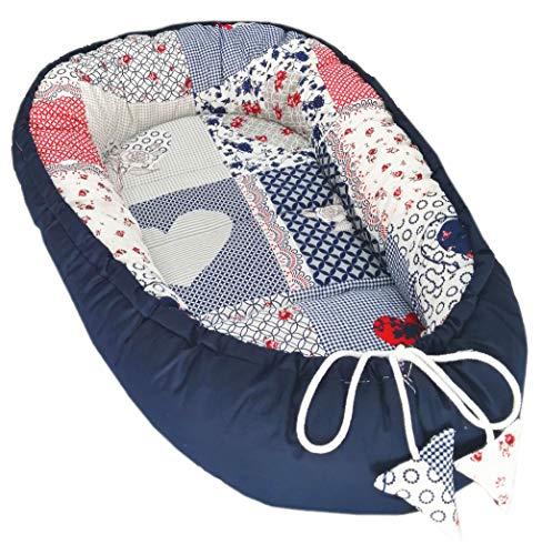 Solvera_Ltd Babynest 2seitig Kokon öko Babybett Nestchen für Neugeborene 100% Baumwolle Kuschelnest Weiches und sicheres Baby-Reisebett (50x90) (Patchwork/Blau)