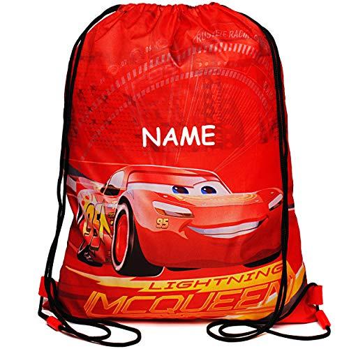 alles-meine.de GmbH Beutel / Tasche _ Sportbeutel - Turnbeutel - Schuhbeutel _ Disney Cars - Auto - Lightning McQueen - inkl. Name - wasserdicht - wasserabweisend abwischbar - fü..
