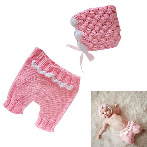 Haokaini Trajes de Fotografa para Recin Nacidos Traje de Punto de Ganchillo para Bebs Sombrero Y Pantalones Accesorios para Fotos Infantiles Ropa Fondo de Fotos Regalo de Ducha para 0-3