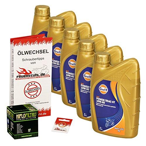 Gulf 10W-40 Öl + HiFlo Ölfilter für Suzuki VS 1400 Intruder, 87-03, VX51L - Ölwechselset inkl. Motoröl, Filter, Dichtring