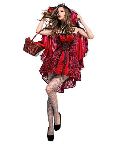 LaLaAreal - Disfraz clásico de Caperucita Roja para Mujer, Vestido Rojo y Capa con Capucha