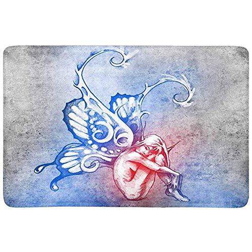 OUSHENGMAOYI Big Deur Mat Koele Fee Met Vlinder Vleugels Tattoo Art Deurmat Anti-slip Binnen En Outdoor Deur Mat Tapijt Home Decor, Entrance Tapijt Vloermatten