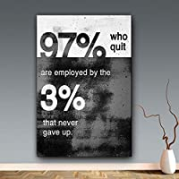 """現代の黒と白の動機付けの引用97%と3%は、リビングルームの家の装飾のためのポスターとプリントを決してあきらめません19.6""""x27.5""""(50x70cm)フレームレス"""