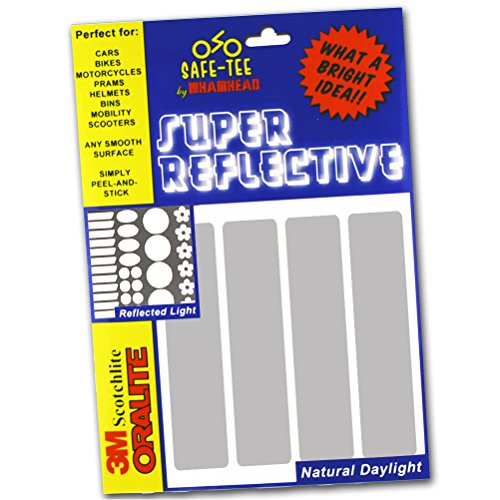 Safe-Tee SILVER/WHITE Reflective MOTORCYCLE HELMET Stickers...