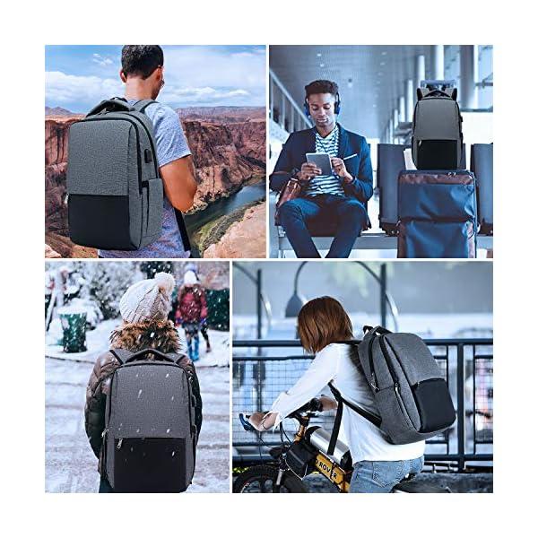 51OucyzQ89L. SS600  - XQXA Mochila para Portátil, Mochila Unisex Impermeable para Ordenador Portátil de hasta 15.6 Pulgadas,con Bolsillo Antirrobo y Puerto USB para Carga,para los Estudios,Trabajo o Viajes - Gris