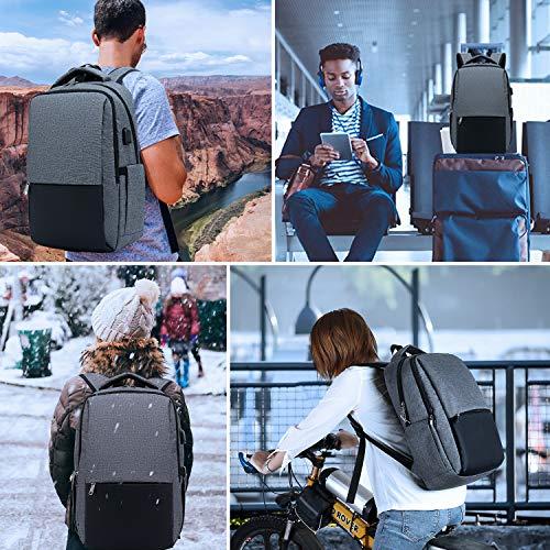 51OucyzQ89L - XQXA Mochila para Portátil, Mochila Unisex Impermeable para Ordenador Portátil de hasta 15.6 Pulgadas,con Bolsillo Antirrobo y Puerto USB para Carga,para los Estudios,Trabajo o Viajes - Gris