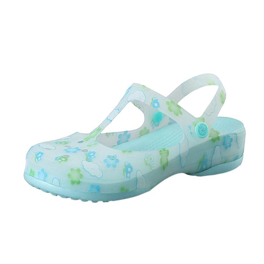 存在するライム不愉快に[Deylaying] 夏 レディース 印刷 穴 シューズ 防滑 レインブーツ レディース ゼリー ビーチ サンダル シューズ 雨靴 通気性 柔らかい シューズ