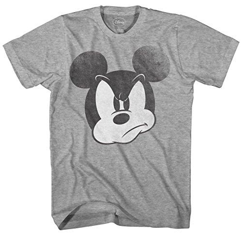 Disney Mad Mickey Mouse Adult Mens T-shirt (XXL, Heather Grey)