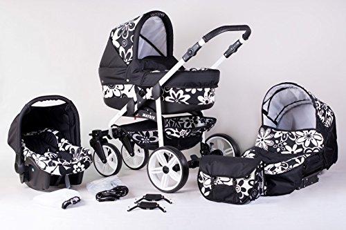 Matrix Modernes Travelsystem Kinderwagen Babywagen Buggy Kinderwagen System + Wickeltasche + Regenschutz + Insektenschutz (3in1 (inkl. Babyschale), schwarz-blumen)