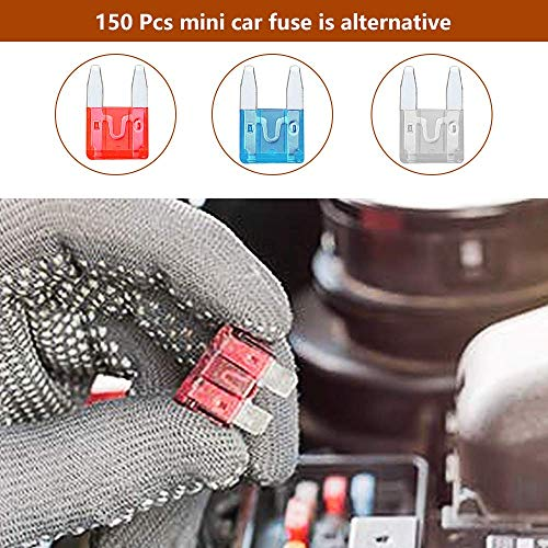Rovtop Car Fuses - 150pcs Mini Blade Car Fuse Assortment,2A 3A 5A 7.5 A 10A 15A 20A 25A 30A 35A 40A - Automotive Replacement Fuses for Cars, Yacht, Boats, Winch, Trucks