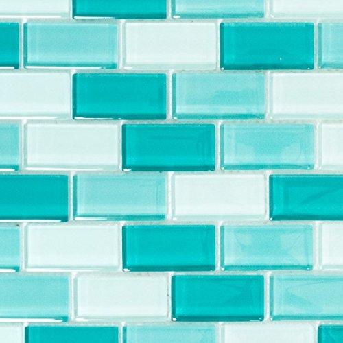 Mosaik Fliese hell türkis Glasmosaik Crystal für WAND BAD WC DUSCHE KÜCHE FLIESENSPIEGEL THEKENVERKLEIDUNG BADEWANNENVERKLEIDUNG Mosaikmatte Mosaikplatte