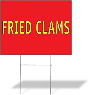 Plastic Weatherproof Yard Sign Fried Clams #2 Restaurants Red Fried Clams for Sale Sign Multiple Quantities Available 18inx12in One Side Print One Sign