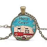 Collier Happy Camper avec pendentif Happy Camper, bijoux de camping et voyage