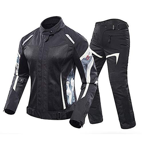 ZDSKSH Damen Motorradkombi 2-teiliger Motorradjacke Und Motorradhose Mit Ce Protektoren Reflective Reflektierendes Design Sommer Atmungsaktive