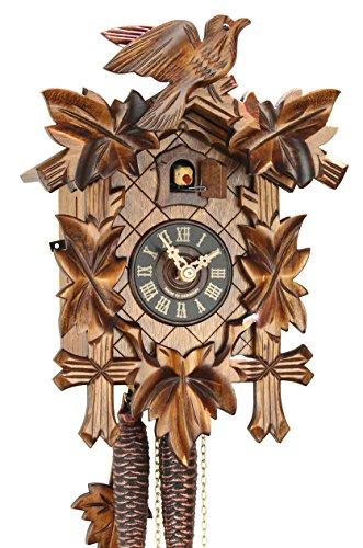 Original Schwarzwälder Kuckucksuhr aus Echtholz, mechanisches 1-Tag Laufwerk und VDS Zertifikat - Angebot von Uhren-Park Eble - Eble -Fünflaub 28cm- 28-01-12-10