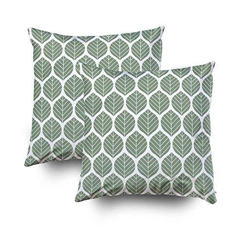 Fundas de almohada para niños, paquete de 18 x 18 pulgadas, 2 fundas de almohada, hojas geométricas, patrón de vectores, textura de vector abstracto, fondo de hoja para ropa de cama para el hogar