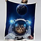 Blessliving Space Cat Fleece Blanket and Throws Sherpa Reversible Fleece Blanket Plush Blankets for Bed or Couch (Throw, 50 x 60 Inches)