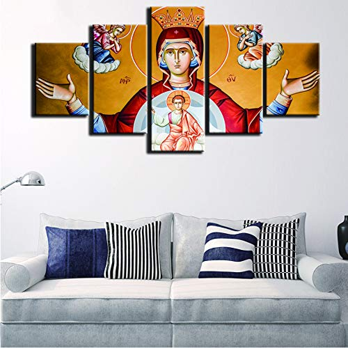 ZKLIB Modernos para Pinturas Lienzo Decorativo Impresiones de Arte 5 Paneles Virgen María Cuadro de la Pared para la decoración casera Pintura niños habitación