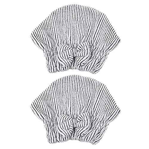 HEALLILY 2 Piezas Gorro de Pelo Seco Toalla de Pelo Envoltura de Fibra de Carbono Turbante Torcido de Secado Rápido Toalla de Pelo de Secado Rápido con Lazo para Mujeres Niñas