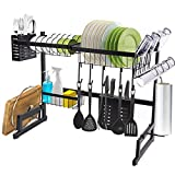 JS Over the Sink Dish Drying Rack - 24.8' Small Stainless Steel Above Sink Dish Rack Drainer Shelf for Kitchen Counter Storage Over Sink Dish Rack with 9 Kinds Utensil Rack Holders, Matte Black