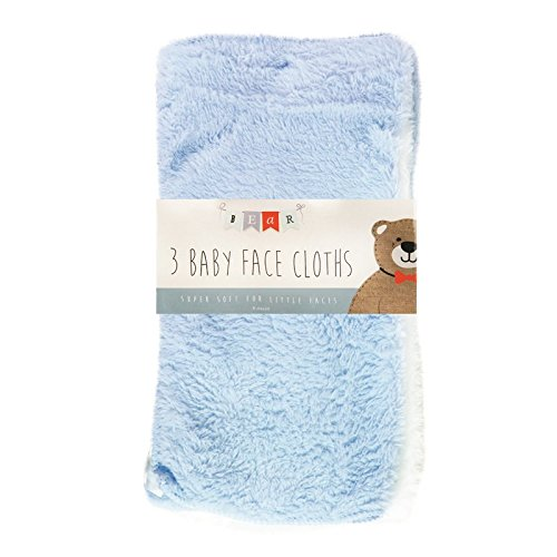 Baby Face Towels * Pack of 3 * (White Blue Yellow)