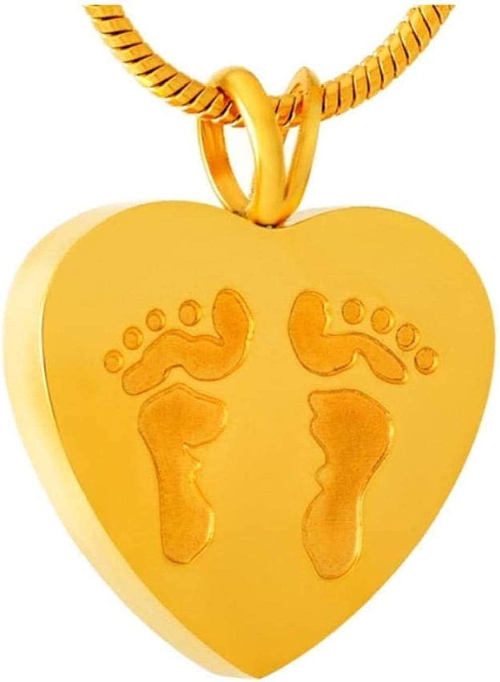 AEGW Cremation Memorial Memorial Cremation Jewelry Ash Pendant Footprint Carved Stainless Steel Cremation Urn Pendant Necklace-Memorial Jewelry for Lovers