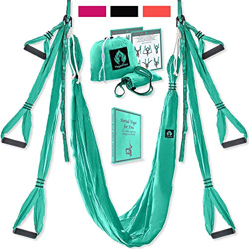 Yoga4You Aerial Yoga Swing Set - Yoga Hammock Swing - Trapeze Yoga Kit - 2 Extension Straps - Wide Flying Yoga Inversion Tool - Antigravity Ceiling Hanging Yoga Sling - Adult Kids Arial Toga (Green)