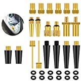 Halikao 30PCS Mixed Premium Brass Valve Adapter, Bicycle Tire Valve Adapter, Ball Pump Needle, Adapter Kits and Accessories for Standard Pumps, Air compressors, and Inflation Equipment