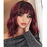 AOMOSA Pelucas de Bob corto pelucas elegantes de Bob rizado de Color rojo vino con flequillo para mujeres negras, fibra natural resistente al calor de 16 '