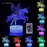 Veilleuse Licorne 3D pour Enfants, Fille Lampe LED USB Veilleuse Illusion Horse lumière de Table aux Couleurs Changeantes avec Télécommande pour Enfants Adultes Chambre Décor(Flying Unicorn)