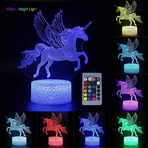 3D Unicorn Night Light per bambini, LED USB Nightlights Illusion Horse Touch Lampada da tavolo Lights with Remote Control for Children adulti/Party Decorazioni di compleanno (Flying Unicorn)