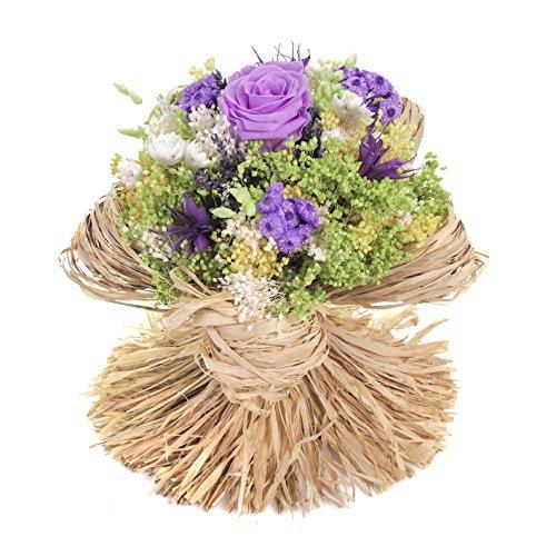 Bouquet-Raffia- Sanremo getrocknete Blumen von der italienischen Riviera dei Fiori mit stabilisierter Rose (Milka)