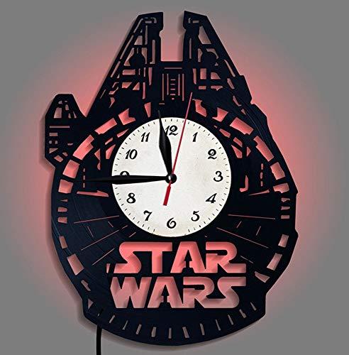 nanxiaotian Star Wars geluidsplaat wandklok LED nachtlampje Millennium nikkel naam ruimteschip creatieve klok