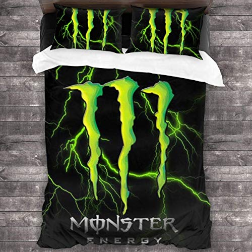 Ogden Cooles Monster-Energy Logo Bettwäsche-Set Weiche 3-teilige Bettgarnituren Bequemer Bettbezug + 2 Kissenbezüge Luxuriös 86 'x 70'