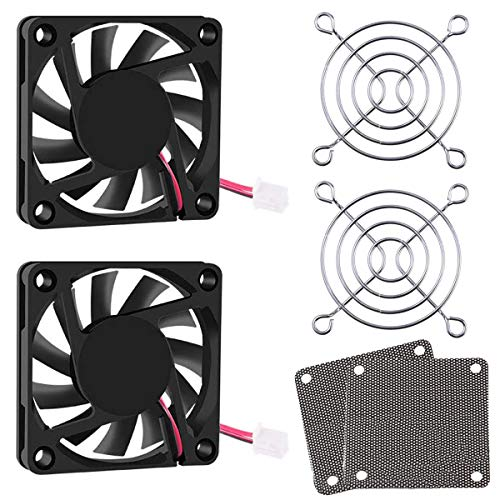 Youmile 2Pack DC Ventilador enfriamiento sin escobillas 12V Rodamientos bolas 60 mm x 60 mm x 10 mm 2 pines para impresora 3D de resina LCD con rejilla de ventilador de 2 piezas y cubierta de malla