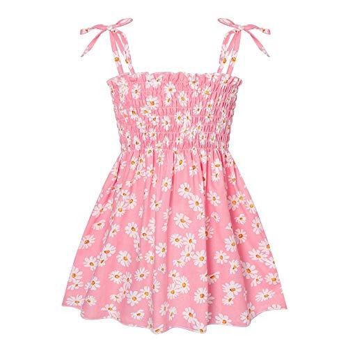 Vestido de verano con estampado floral para niñas pequeñas, sin mangas, falda de playa rosa 2-3 años