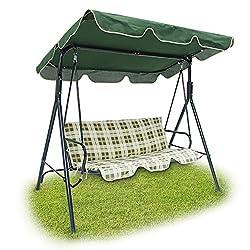 Relaxdays 3er Outdoor Garden Swing mit Grün gepolstert–beige