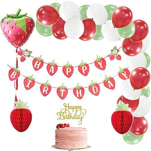 SUNBEAUTYJuego de decoración de cumpleaños de Fresa, Guirnalda de Feliz cumpleaños, Globos de Papel de Aluminio, Globos, decoración de cumpleaños roja, decoración de Fiesta