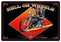 なまけ者雑貨屋 Hell On Wheels ブリキ 看板 レトロ アメリカン 雑貨 ヴィンテージ風