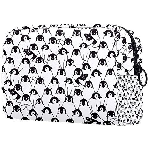 Bolsas de Aseo Pingüino Blanco Negro Hombres y Mujeres Bolsa de Almacenamiento de Viaje Suave al Tacto de Impresa Personalizada 18.5x7.5x13cm