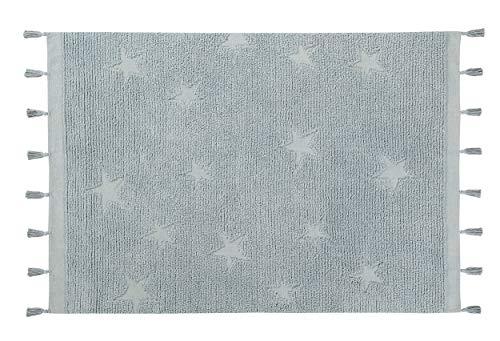 Lorena Canals - Alfombra lavable Hippy Stars Aqua Blue - Azul agua - 97 % algodón 3 % otras fibras - 175x120 cm