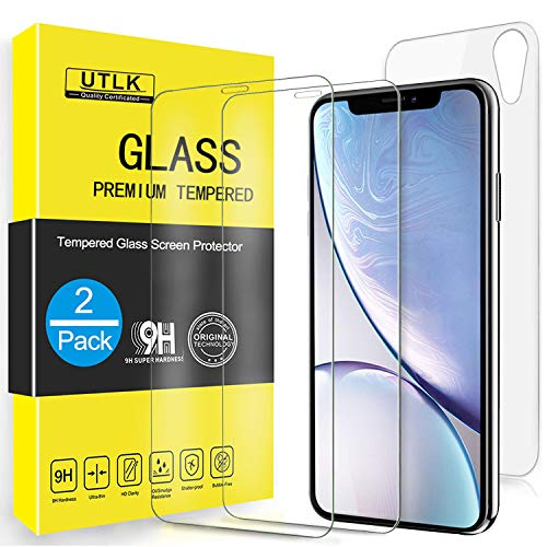 UTLK Screen Protector for iPhone XR, [2 Front+2 Back ] [6.1 inch],HD Clear Tempered Glass Screen Protector for iPhone XR / 10R, Case Friendly