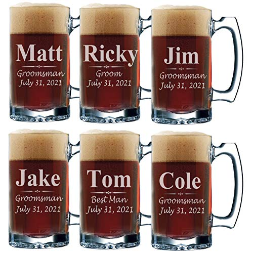 Personalized Groomsmen Beer Mugs