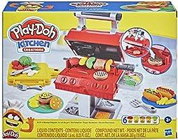 Play-Doh Wielkie Grillowanie, 6 tub z nietoksyczną masą plastyczną w różnych kolorach i 7 zabawkowych dodatków do...