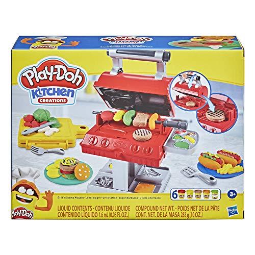 Hasbro Play-Doh Kitchen Creations Barbecue, per bambini dai 3 anni in su, con 6 colori di composto modellabile atossico e 7 accessori