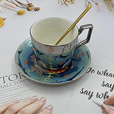 Tea Cup and Saucer Set, Creativity 8 OZ Mirror Cup and Saucer for Coffee,Bone China Tea Party Christmas Gift (Mysterious Dolphin /8 oz)