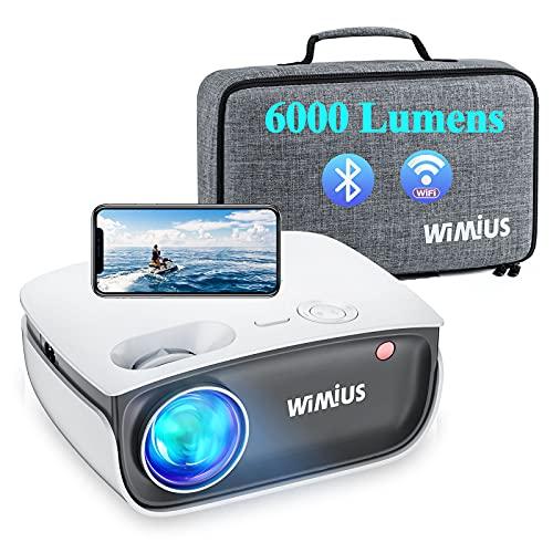 Vidéoprojecteur WiFi, WiMiUS Projecteur Bluetooth Soutien Full HD 1080p, Projecteur WiFi Synchronisation avec Fonction de Zoom, Mini Projecteur Portable pour HDMI/ USB/ TV Box/ AV/ PC/ PS4