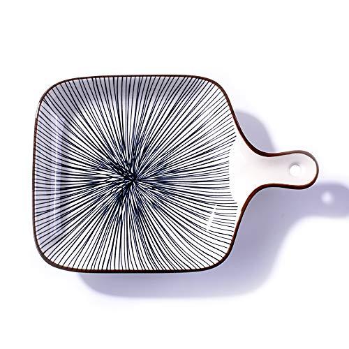 Ceramic Baking Dish with Handle, Rectangular Baking Pans for Cooking, Cake Dinner, Kitchen (Line)