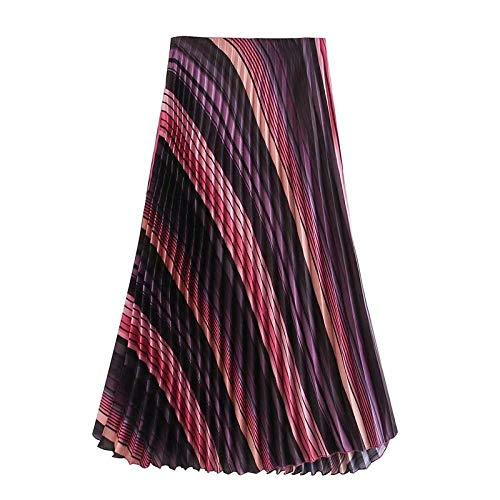FDJIAJU Röcke Für Damen,Frauen Seite Reißverschluss Lässig Schlanke Schicke Röcke Vintage Bunt Gestreiftprint Plissierten Midi-Rock, M